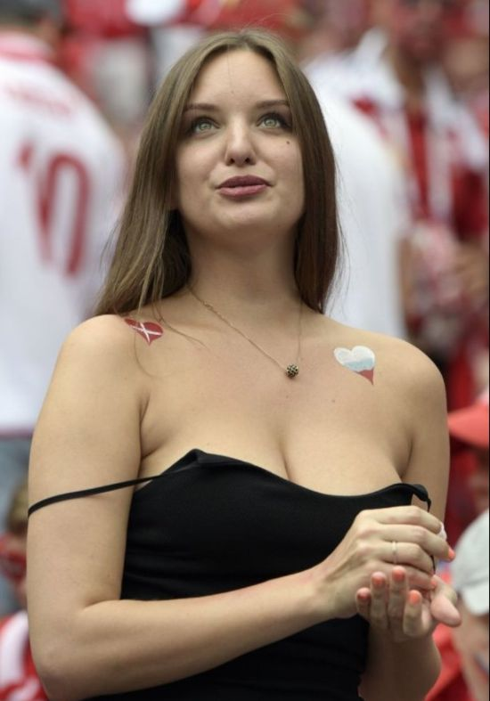 A Busty Fan At Denmark Vs France Game (4 pics)