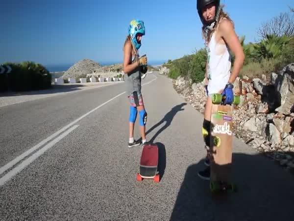Girl Skaters Bomb Steep Winding Road