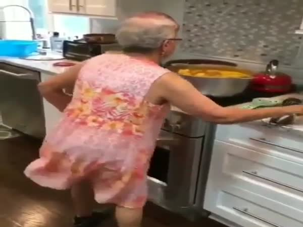 Grandma Dancing While Cooking