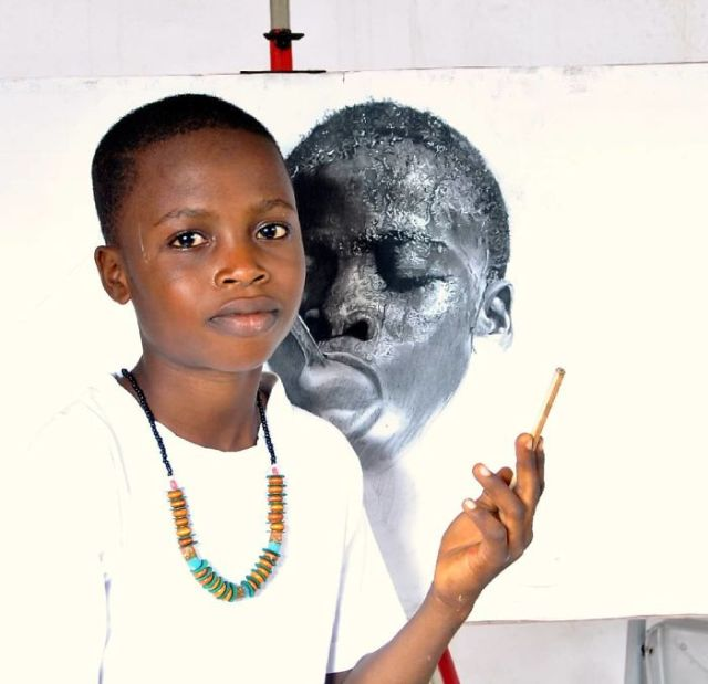 11-Year-Old Kid From Nigeria Creates Hyperrealistic Drawings (17 pics)