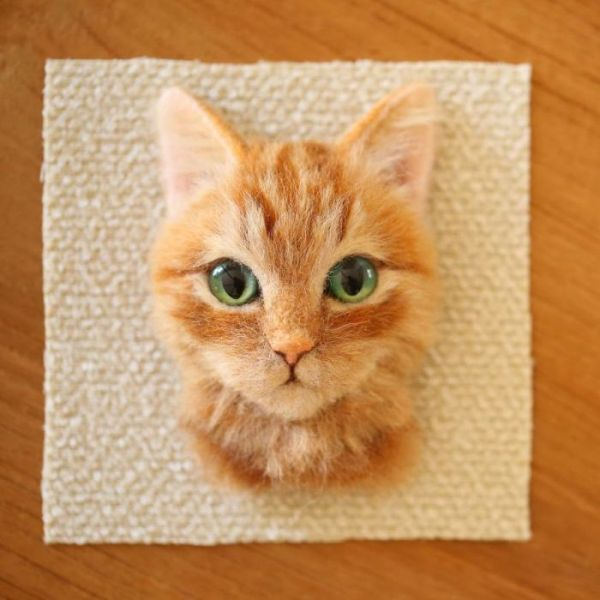 Artist From Japan Makes Hyper Realistic Cat Portraits From Wool (18 pics)