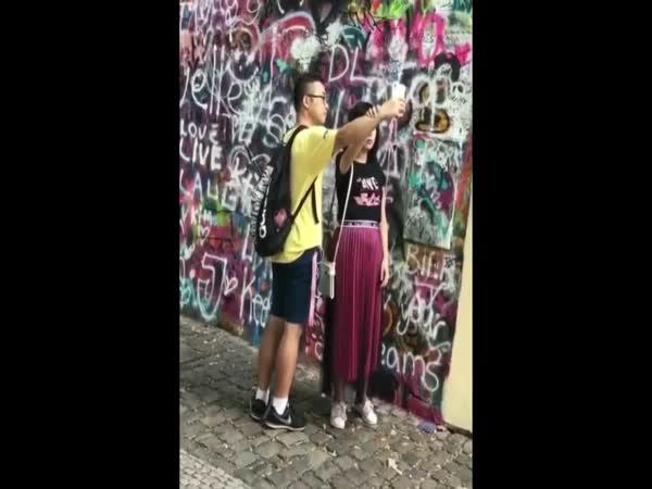 Asian Girl Treats Her Boyfriend Like A Human Selfie Stick