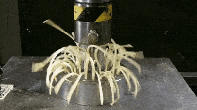 Things Getting Hydraulically Pressed (17 gifs)