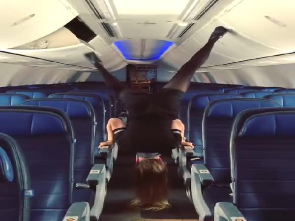 Stewardess Shows Off Gymnastics Skills