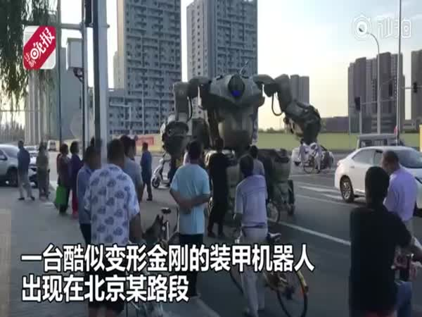 Man Takes His Self-Built 'Transformer' For A Spin In Beijing