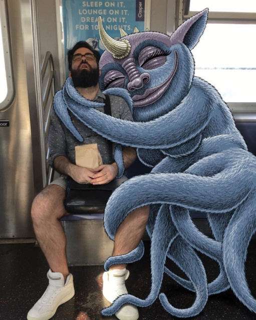 Artist Adds Monsters Next To Strangers On The Subway (20 pics)