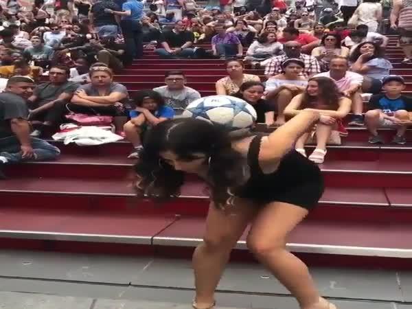Girl Shows Off Her Soccer Skills