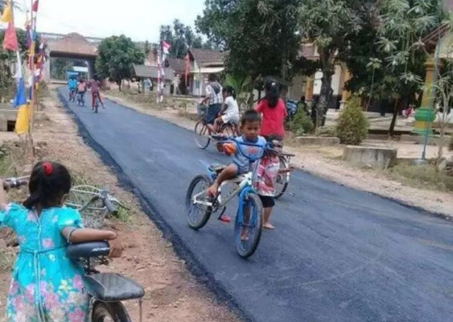 This Village Has A Decent Road For The First Time (3 pics)