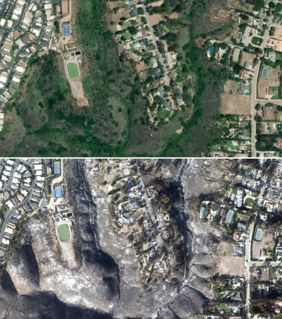 Malibu From Space Before And After Wildfires (9 pics)