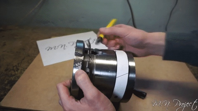 Guy Makes Tomahawk Out Of A Bearing Sleeve (10 gifs)