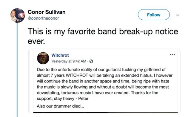 The Best Band Break-up Notice Ever (4 pics)