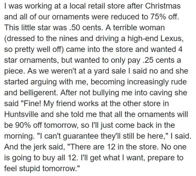 Rude Customer Gets Instant Karma From Spiteful Cashier Over Christmas Ornament (13 pics)