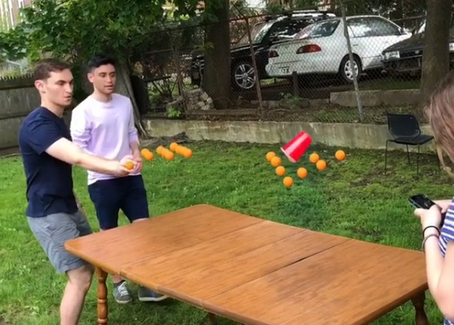 Friends Play Beer Pong Catching Balls Hanging In The Air. And An explanation (2 gifs)