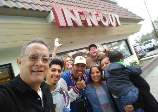 Tom Hanks Surprises Fans at In-N-Out Burger and Buys Them Lunch (4 pics)