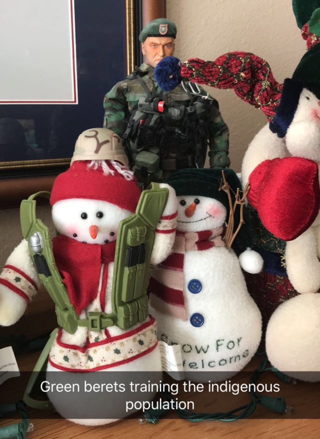 Every Christmas This Guy 'Improves' His Mom's Christmas Decorations With His Soldier Figurines And It's Hilarious (17 pics)