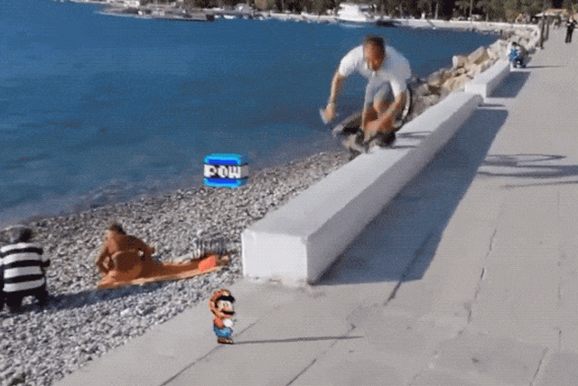 16-bit Game Characters In Real Life (16 gifs)