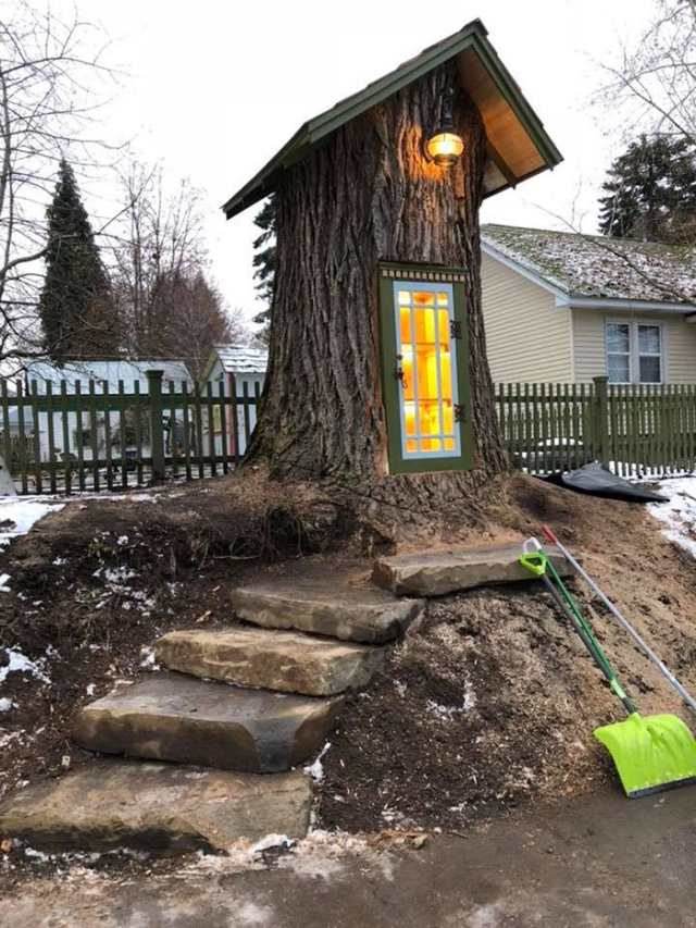 Woman Turned 110-Year-Old Dead Tree Into A Free Little Library (16 pics)