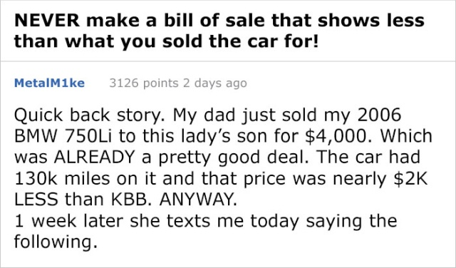 Never Make A Bill Of Sale That Shows Less Than What You Sold The Car For (5 pics)