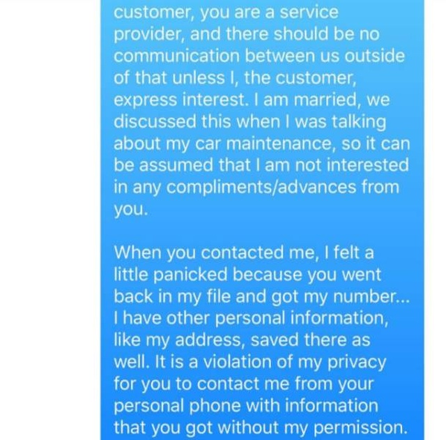 This Oil Change Guy Won't Message A Woman Again (4 pics)