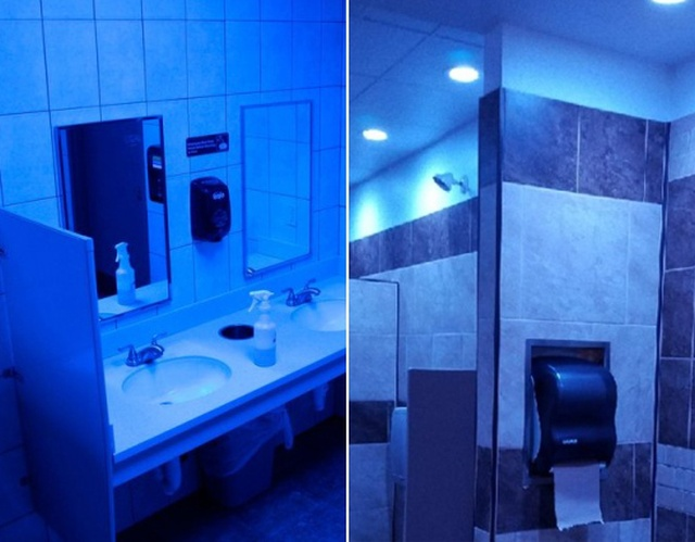 Gas Station Installs Blue Lights To Fight Drug Use (5 pics)