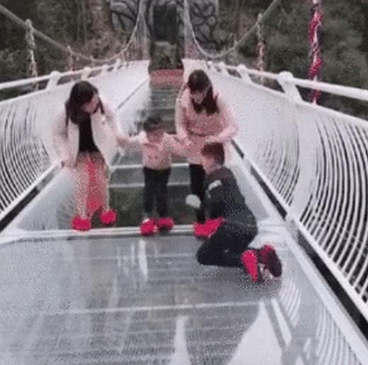 Scary Glass Bridge Prank (4 gifs)
