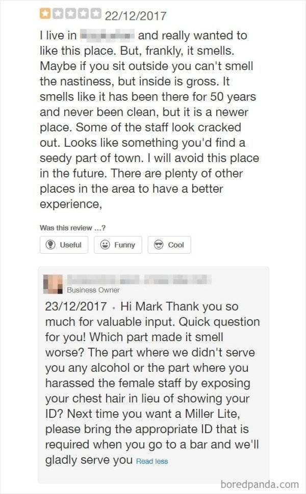Restaurants Reply To Bad Reviews (20 pics)