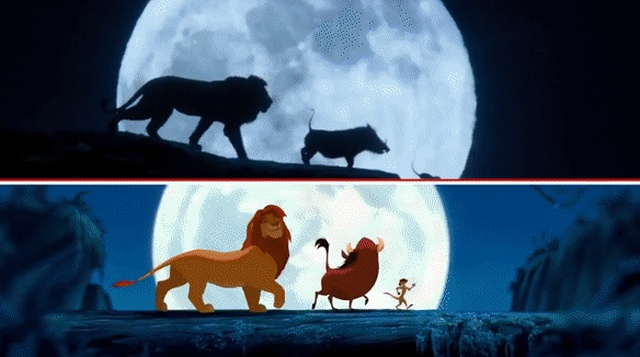 Frame-By-Frame Comparison Of The New Lion King Trailer With The Original Cartoon (8 gifs)