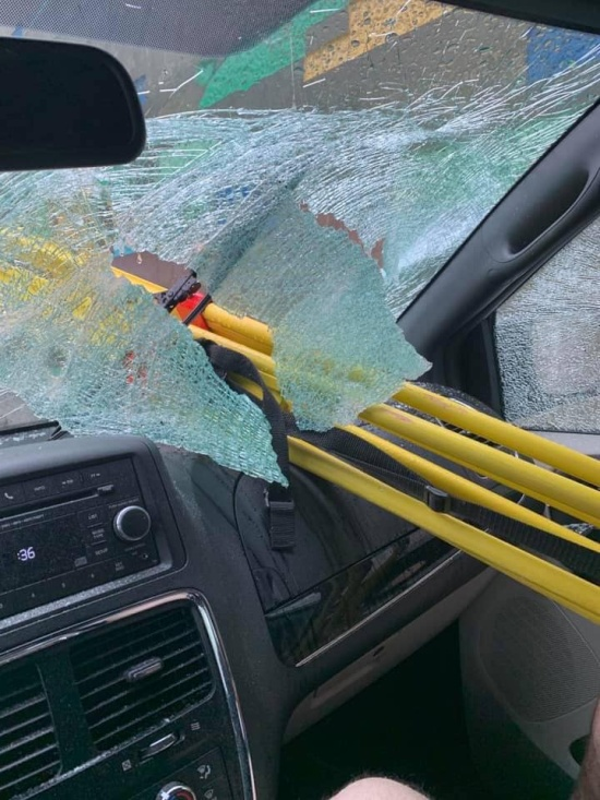 Metal Tripod Thrown Off A Motorway Bridge In California (5 pics)