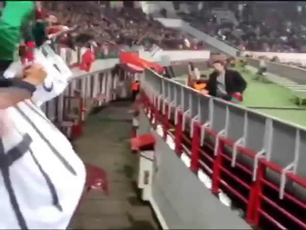 The Pitch Invader Got Away From Security And The Fans Helped Him Out