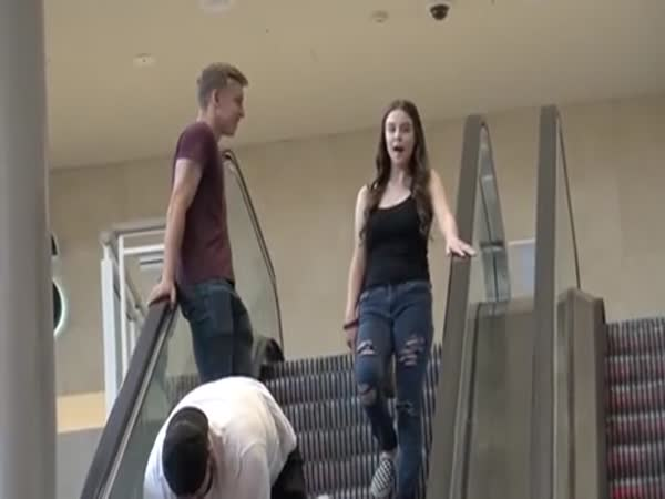 Man Wearing Thong Prank On The Escalator