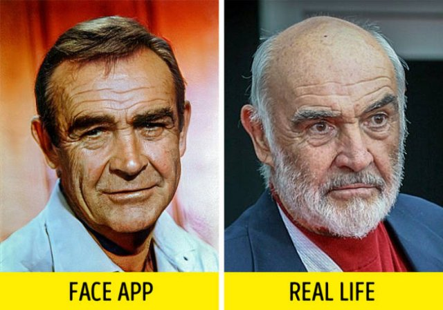 "FaceApp ""Old Filter"" Added To Retro Photos Of Celebs Vs Real Photos Of Celebrities (15 pics)"