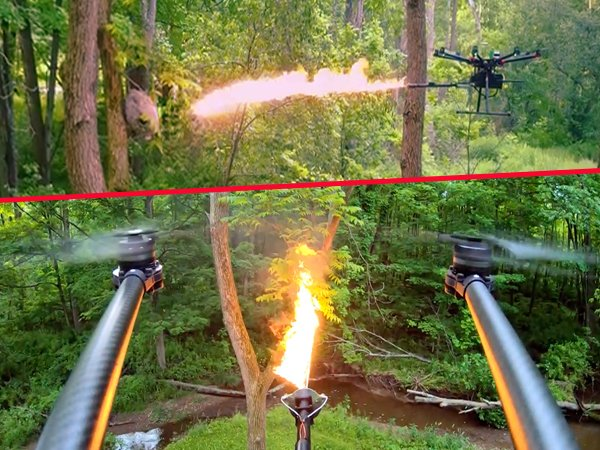 Awesome Flame-thrower Drones (8 gifs)