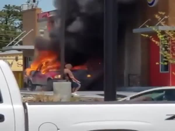 This Burning Car Looks Pretty Safe