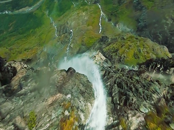 Fly From Top To Bottom Of Norway's Gudvangen Waterfall (5 GIFs + Video)