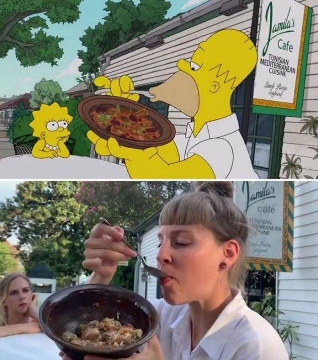 """Two Swiss Tourist Girls Recreate """"The Simpsons"""" Scenes In New Orleans (31 pics)"""