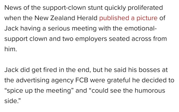 Man Being Fired Brings Emotional Support Clown To Meeting (7 pics)