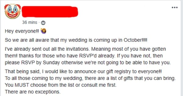 Bride Insists Guests Spend At Least $400 On Her Wedding Gift (8 pics)