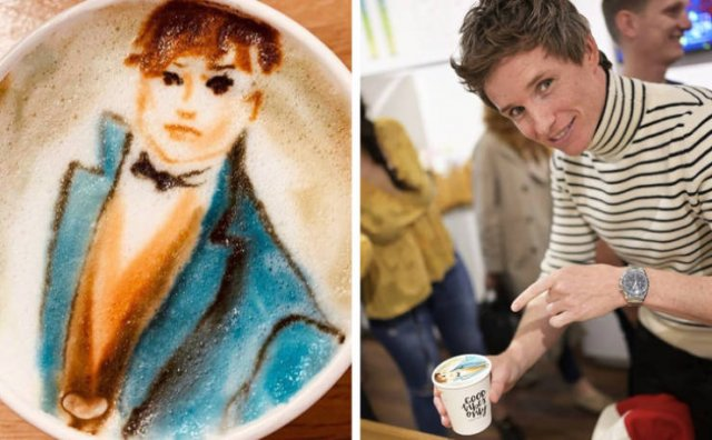 Awesome Celebrities' Portraits On Coffee (16 pics)