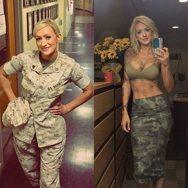 Girls With And Without Uniforms (26 pics)