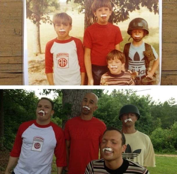 Then And Now: People Recreate Their Childhood Photos (22 pics)