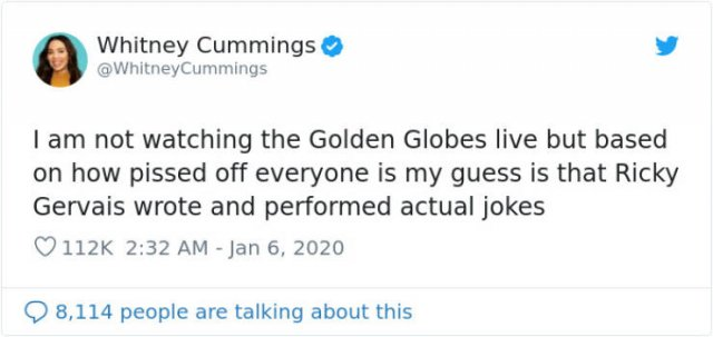 Ricky Gervais' Golden Globe Speech: People Respond On Twitter (22 pics)