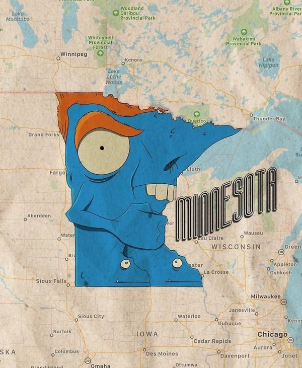 Artist Turned US Map Into Monster Map (51 pics)