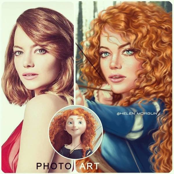 Helen Morgun Shows How Celebs Look If They Are Disney Characters (26 pics)