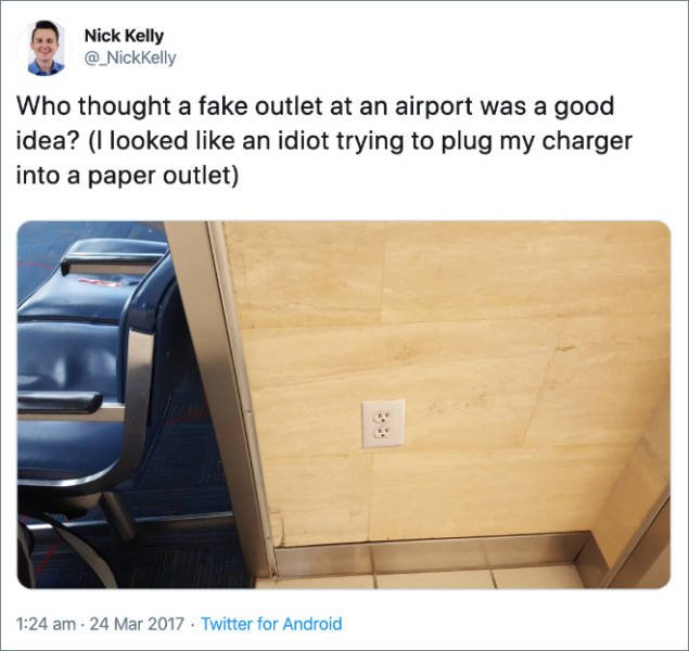 Airport Prank: Fake Power Outlets (20 pics)