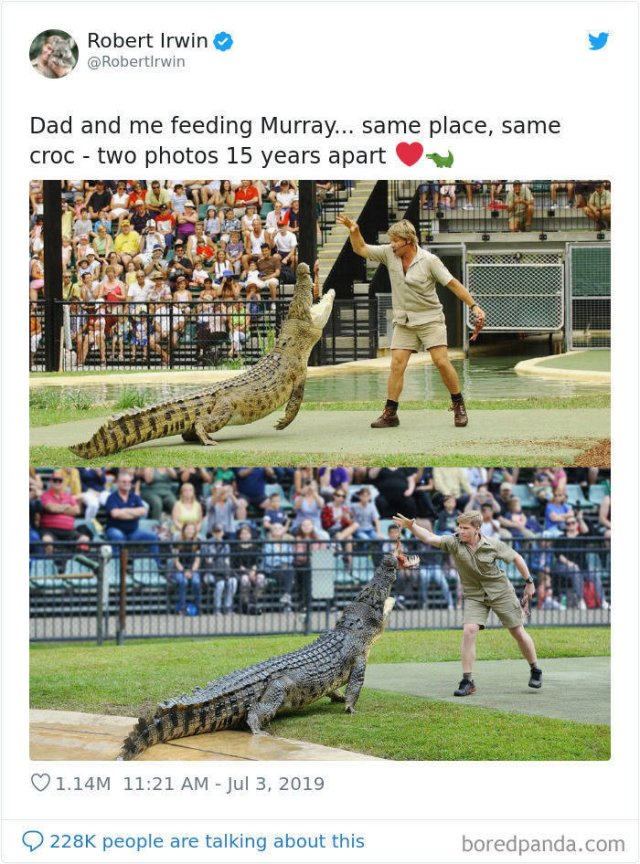 Robert Irwin Recreates His Father's Photos (15 pics)