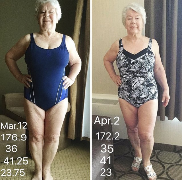 Then And Now: Granny Transformed Her Body (24 pics)