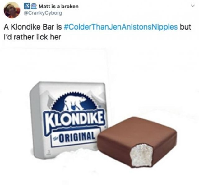 #ColderThanJenAniston'Nipples Tweets (24 pics)