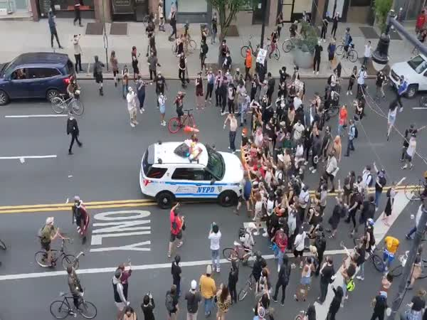NYPD Vehicles Driving Into Protesters In Brooklyn