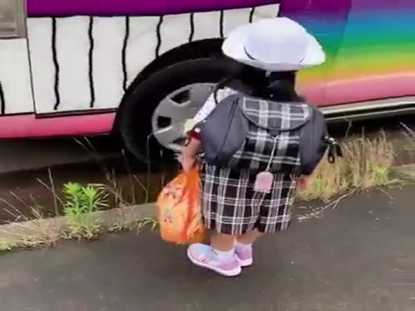 One Of The Japanese Children Goes To School During This Pandemic