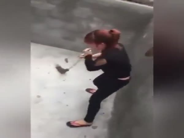 Woman Vs Giant Rat